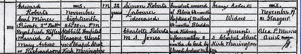 OFFICIAL RECORD: Rifleman Roberts' death certificate, discovered by Geoff Carr, in Scotland