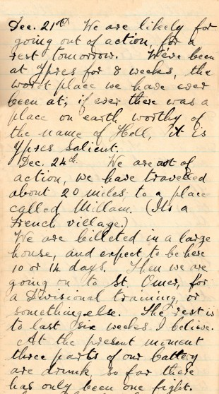 CHRISTMAS EVE: One of the diary entries of Gunner George James