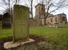 RESTING PLACE: The grave of Rifleman E Roberts in Kirk Merrington churchyard
