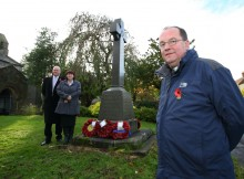 The Rev Michael Gobbett, parish clerk Paul Gray, and Julie Hall, chairman of Bishop Middlemam Parish Council, beside the war memorial at St Michaels Church