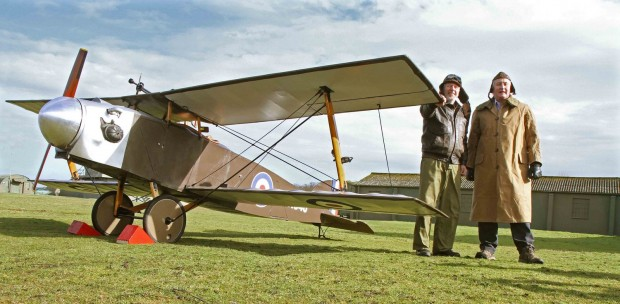 The rare Eastchurch Kitten World War I fighter plane is started up by volunteers Brian Watmough and Grant Sparks at the Yorkshire Air Museum