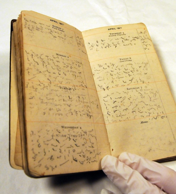 One of the First World War diaries that were discovered