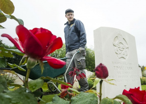Garden Caretaker 1st Class Nick Holden at the Harrogate (Stonefall) Cemetery in North Yorkshire, where 23 First World War servicemen are buried or commemorated, as preparations are made to mark the Centenary of the Battle of the Somme on the 1st of July