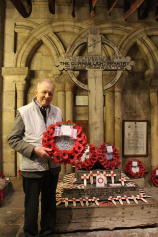 IN MEMORY: George Shotton laying the wreath to his uncle, Newrick Curry, in the DLI Chapel