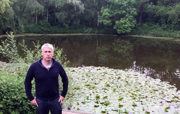 David Young at Pool of Peace - a crater left by underground mine near Messines.