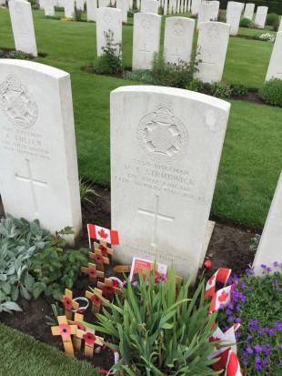 Valentine Strudwick's grave at Essex Farm Cemetery, Ypres.