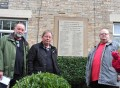 FALLEN REMEMBERED: (l-r) Dave Wright, Joe Toner and Ian Patterson, who have installed the new war memorial plaque at Shotley Bridge Memorial Cottages