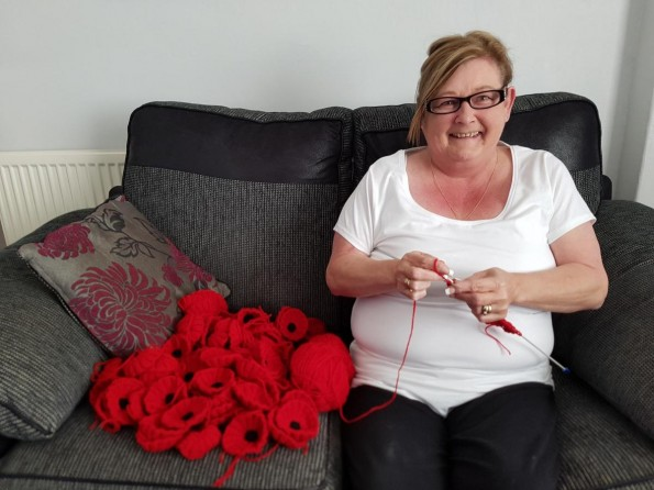 KNITTER: Diane Fairley taking on the task