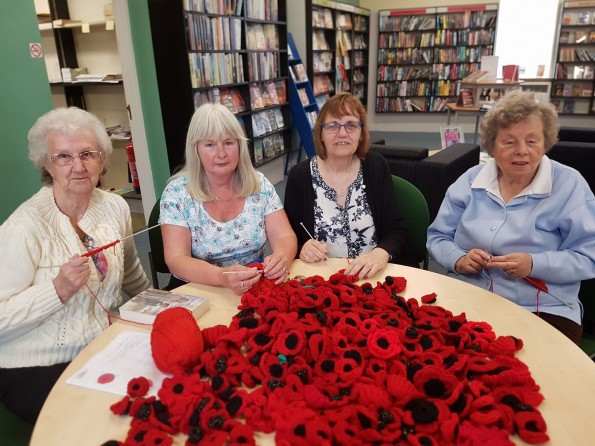 Bowburn Knit and Natter Group's Elizabeth Taylor, Hilary Mason, Joyce Garner, Jean Shields, the group contributed more than 600 poppies