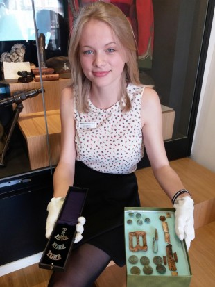 PROUD: Richmond School work placement student Olivia Wallis with the new Parker exhibits at the Green Howards Museum