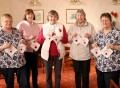 REMEMBRANCE QUILT: Members of  Sedgefield Family History Group are taking part in a national project to create a First World War memorial patchwork quilt. Pictured are; Sue Wade, Sylvia Hall, Ann Oliver, Nancy Smart and Trish Harrison. Picture: TOM BANKS