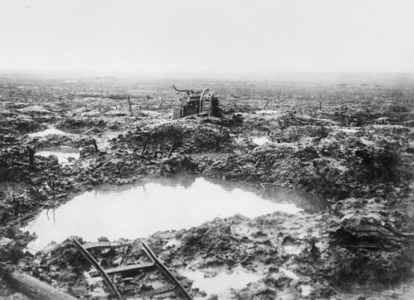 HUMAN REMAINS: The wreckage of a tank beside a shell crater on the Passchendaele battlefield