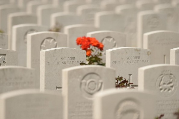 KNOWN UNTO GOD: British graves at Tyne Cot cemetery near Ypres this week