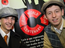 Students at St Michael's Academy, Billingham, Ethan Hamilton, 15 and George Bailey, 15, both of Billingham, who acted out an enlistment scene to remember the events of the First World War