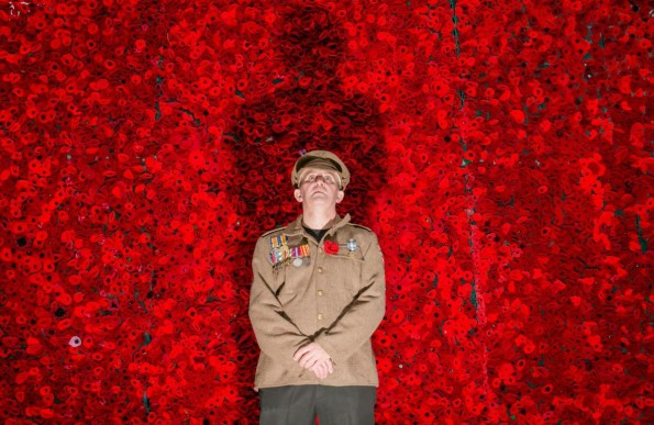 UNVEIL: Project co-ordinator Andy Denholm in from of the Field of Poppies display in West Cornforth Picture: SARAH CALDECOTT
