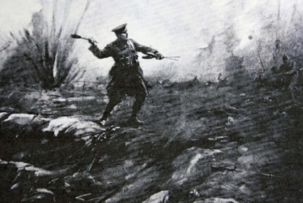 COURAGE: An artist's image of L.Cpl Edward Dwyer protecting his trench at Hill 60 durign the Battle of Ypres
