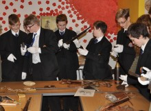 Some of the pupils from Wolsingham School at the Durham Light Infantry Museum in Durham. They will be going to France in July to mark the centenary of the Battle of the Somme