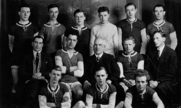 FACE OF OBJECTION: Bert Law, front left, and Billy Law, second from right on middle row, with Blackwell FC in 1919