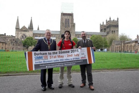 Durham University student Jordan Blunsom at the start of his 950 miles walk to The Somme to raise money for Walking with the Wounded charity. At the starting point for his walk at Palace Green with Chairman of Durham County Council, cllr Eddie Bell and Director of Culture at Durham University, Keith Bartlett