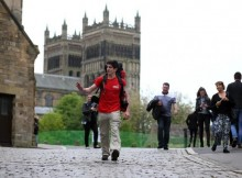 Durham University student Jordan Blunsom at the start of his 950 miles walk to The Somme from Durham City to raise money for Walking with the Wounded charity. Picture: CHRIS BOOTH