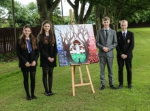 Wolsingham School Pupils Aube Bailly, Phoebe Thompson, Sam Cooper and his brother Nic Cooper, who are going to the Somme. Picture: TOM BANKS