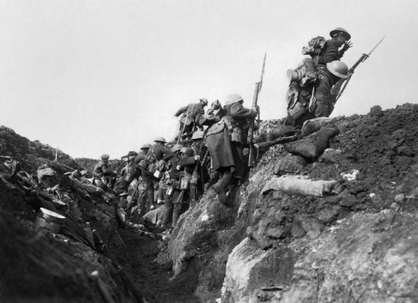 ATTACK: British soldiers go over the top during the Battle of the Somme