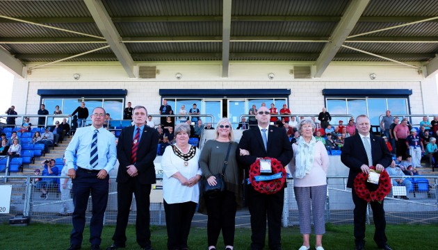 TRIBUTE: The family of Sidney Wheelhouse watched Bishop Auckland v Shildon as part of a celebration in his name. Picture: SARAH CALDECOTT
