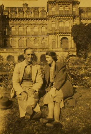 SAVED: Wilfred Smith and his wife, Hannah, in the grounds of The bowes Museum, in Barnard Castle, where his five brothers who died in the First World War are named on its war memorial