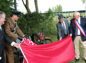 The unveiling by left to right Coun Edward Bell, chairman of DCC, Hon Col James Ramsbotham, Honorary Colonel James Ramsbotham, chairman of the DLI trustees, Laurent Somon, leader of the Somme regional council, Max Potie, mayor of Thiepval
