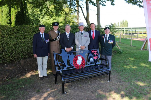 The bench commemorating the ultimate sacrifice of hundreds of Durham Pals after its unveiling on the Somme