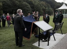 SECOND BENCH: Cllr Edward Bell and Colonel James Ramsbotham unveil the Durham Pals memorial bench, with the bandstand in the background, on the Racecourse yesterday. Picture by Stuart Boulton