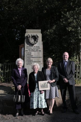 FAMILY: From left, Henry Johnson's niece Adelaide Morrison, nephew's wife Joyce Harrison and Gillian and Martin Morrison at the war memorial in Hilton. PICTURE: Stuart Boulton.