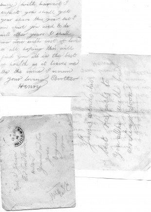 LETTERS: Letters sent home to his family by Pte Johnson