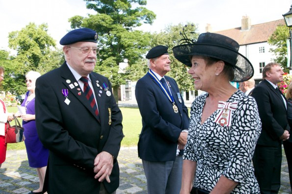 WREATH BLESSING: Lord Lieutenant Sue Snowdon with David Hillerby, of The Sedgefield Veterans group, at the wreath blessing. Picture by Keith Taylor