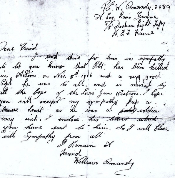 How a private in the Durham Light Infantry wrote to Mary Pitt telling her that Robert had been killed on November 5, 1916, at the Butte de Warlencourt