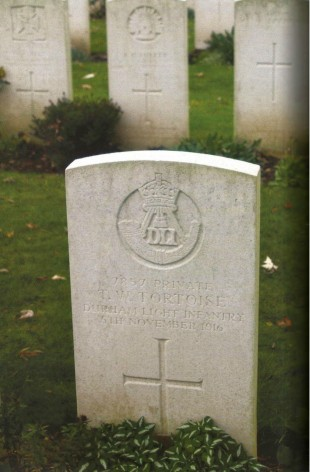 Pte Tommy Tortoise's headstone in Warlencourt Cemetery. The member of the DLI died 100 years ago today. Picture: Bill Lawrence