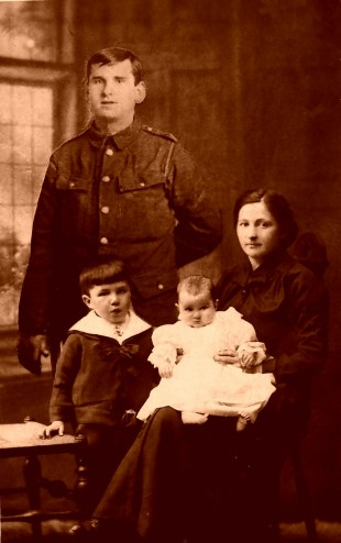 HAPPY FAMILY: Cpl Robert Pitt with his wife, Mary, and their son, Robert, and daughter, Sommena – however, Sommena was born a month after Robert was killed on the Somme 100 years ago today. He has been carefully cut out of another photo and added to a n