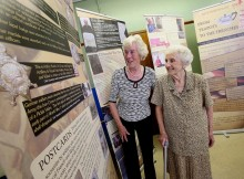 LOOKING BACK: Brenda Cole, right, and Edith Forsyth enjoy the exhibition at Chester-le-Street Library
