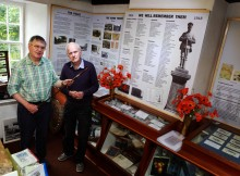 : David and Ken Heatherington pictured with the WW1 Exhibition at the Weardale Museum at Ireshopeburn.