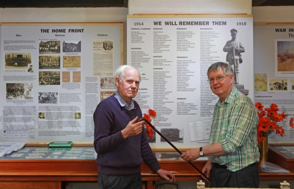 David and Ken Heatherington pictured with the WW1 Exhibition at the Weardale Museum at Ireshopeburn