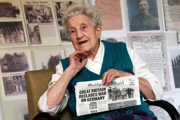 UEST OF HONOUR: 105 year old Alice Coulson as guest of honour at a World War I themed event to commemorate the outbreak of conflict 100 years ago, held at Castle Court Care Home in Annfield Plain