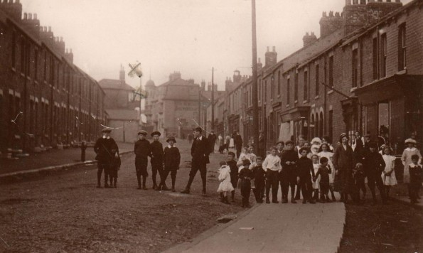 ABE'S ARCHIVE: A magnificent Edwardian postcard of the main street in Trimdon Grange. Abe Stewart put a cross probably where his grandmother lived close to the entrance to the colliery. We reckon the only building still standing is the Dovecote, the large pub in the distance by the cross