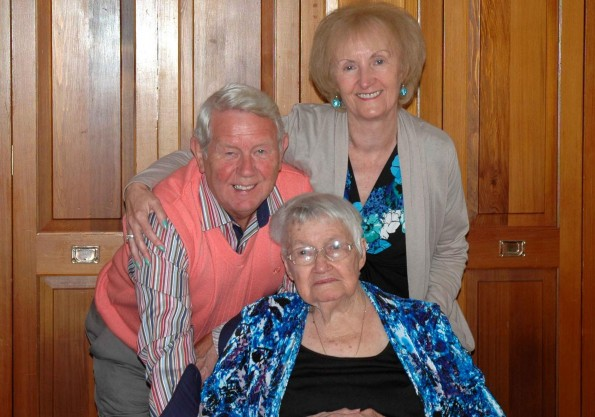 PARDON: Florence Johnson nee McDonald with her step cousin Vince and Joan Procter