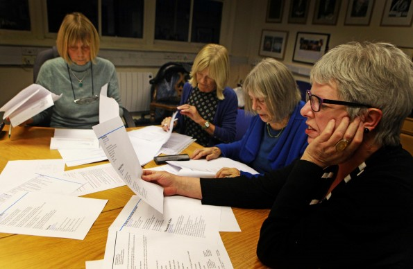 POETRY JUDGING: Ladies from Vane Women judging the Northern Echo Poetry competition pictured from left Marilyn Longstaff, Dorothy Long, Jackie Litherlind and Lindsay Balderson. Picture: SARAH CALDECOTT