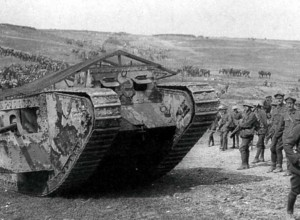 A Mark 1 tank in Chimpanzee Valley at the Battle of Flers Courcelette prior to the attack on September 15, 1916