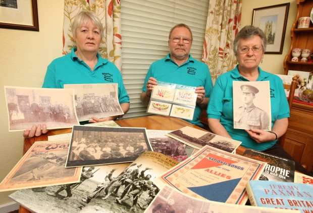 MEMORIAL RESEARCH: Sedgefield Local History Society members, from left, Barbara Leo, Haydn Neal and Norma Neal are appealing for First World War memorabilia