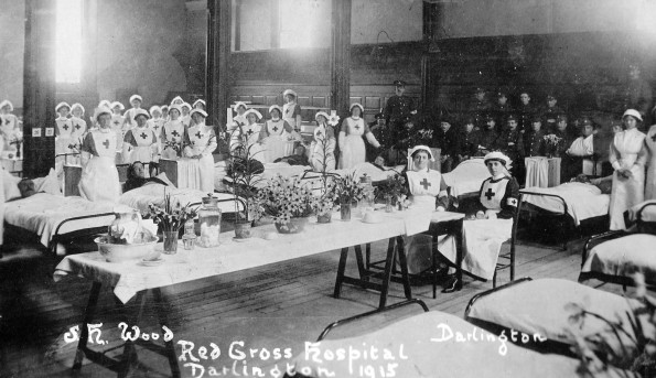 MEETING THE PAST: A superb picture from Lillian Donald's album showing the interior of the Darlington VAD hospital in 1915. It is believed that it was taken in the Friends Meeting House in Skinnergate, Darlington