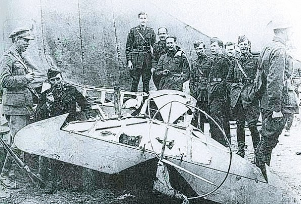 FATAL CRASH: The wreckage of the Red Baron's plane in which he died