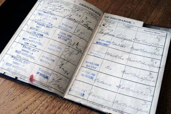 LOG BOOK: Third Engineer John Scarre's record, which shows his voyages on SS Thirlby