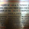 A plaque, once screwed onto a wall at Eastbourne Methodist Church and now rededicated at St Herbert's Anglican Church, containing the names of 15 men from east Darlington who died in the First World War. Picture: CHRIS BOOTH